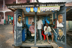 Top Class Barbing Shop and Cell Phone Charging ©Betty Press
