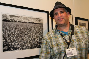 """Joe Hoyle with his image, """"Cotton Patch""""SlowExposures 2015, People's Choice Award"""