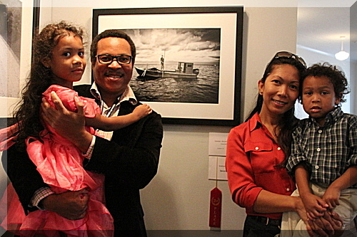 "Vinson Smith with Family and People's Choice Photo, ""The Last Oysterman""SlowExposures 2013photo by Ellen Tew"